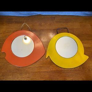 Vintage abstract orange bird & yellow fish mirrors